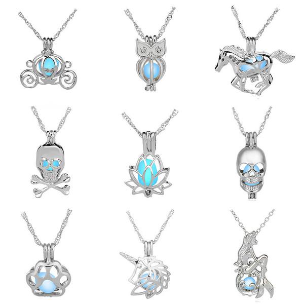 Abrible Collar DIY Niñas Ahuecar Perla Jaulas Cielo Azul Locket Luminoso Mujer Colgante Ropa Accesorios Artesanías Regalos 3 5db bb