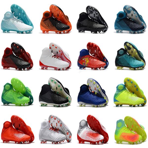 2018 NUEVO Botas altas de fútbol de tobillo para hombre Zapatos de fútbol FG de Magista Obra II Zapatas de fútbol al aire libre Superfly ACC Magista 2