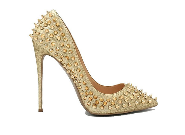 Free Shipping 2019 fashion New sexy girls bling bling Glitter Glitter Spikes Rivets Studded Silver Gold High Heel shoes woman stiletto shoes