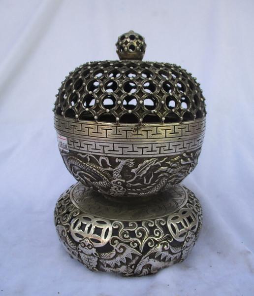 Rare antigo antigo tibet prata gaiola esculpida queimador de incenso / metal incensário frete grátis 00041