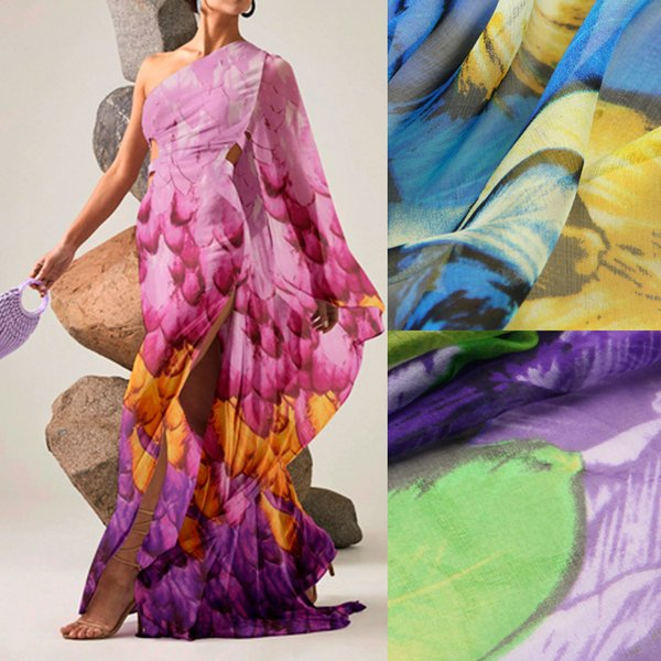 135CM Wide 6MM Feder Print Blau Grün Pink dünne Seide Chiffon Stoff für Sommer lange und kurze Kleid Bluse Shirt D952