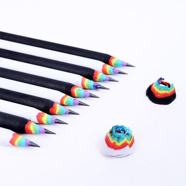MEIKENG Hot Selling High-end Korea Cute Stationery 17CM Rainbow 2B Pencil Student School Office Use