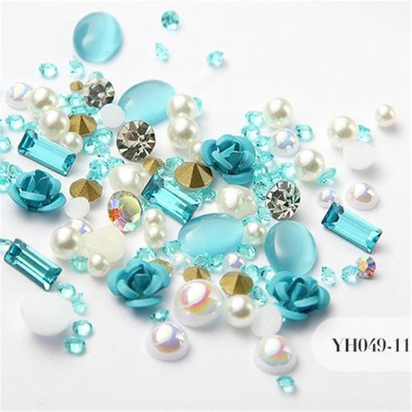 best selling 12 Colors 3D Rose Flower Nail Art Decorations Glitter Diamond Pearl Nail Art Supplies Nail Makeup DIY