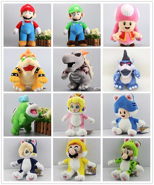 New arrival 100% Cotton Super Mario Bros Mario Luigi Toad Peach Rosalina Bowser Koopa Plush Doll Stuffed Animals Toy For Child Best Gifts