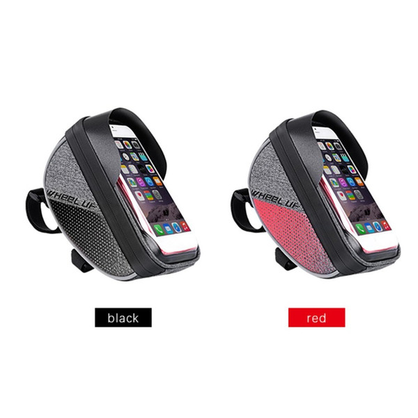 WHEEL UP Bike Handlebar Front Tube Bag Waterproof MTB Road Cycling Pouch Bag 6.0 Inch Touch Screen Cell Phone Case with Visor