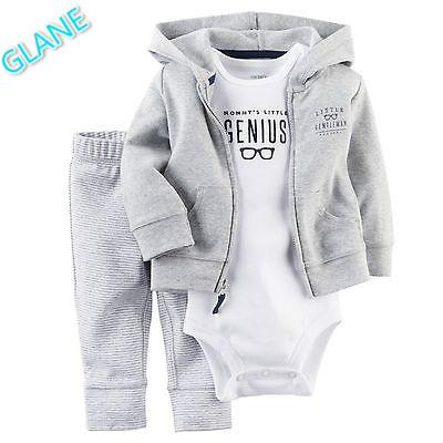 2017 Latest Casual Newborn 6 9 12 18 Months Cardigan Pants Set Baby Boy Clothes Outfit Gray Bodysuit Baby Boy Clothes