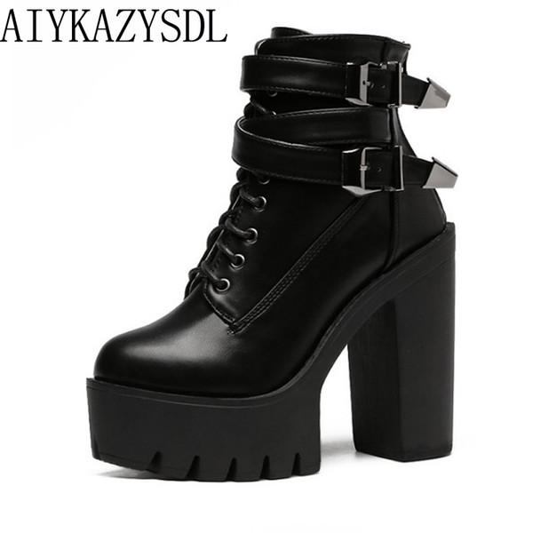 AIYKAZYSDL Mujeres Botines Botines de Cuero de Imitación / Gamuza Botines Botines de Plataforma Hebilla Punk Zapatos de Tacón Ultra Muy Altos
