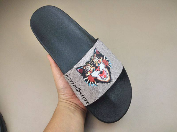 factory outlet mens and womens fashion Treck Coated angry-cat graphic print Slide Sandals slippers causal flip flops