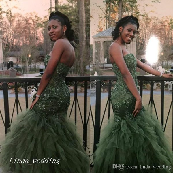 2017 Sexy African Olive Green Tulle Mermaid Prom Dress Black Girl Lace Appliques Long Sweep Train Party Gown Custom Made Plus Size
