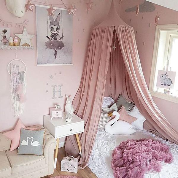 Großhandel Weiß Grau Rosa Beige Jungen Mädchen Kinder Prinzessin Baldachin  Bett Volant Kinderzimmer Dekoration Baby Bett Runde Moskitonetz Zelt ...