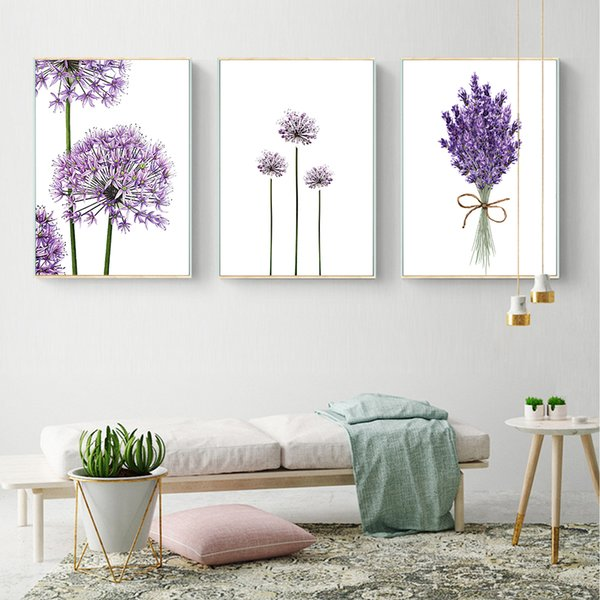 Cuadros Lavender Flowers Wall art Poster Modern Canvas Painting Green Posters and Prints Pictures For Living Room Scandinavian
