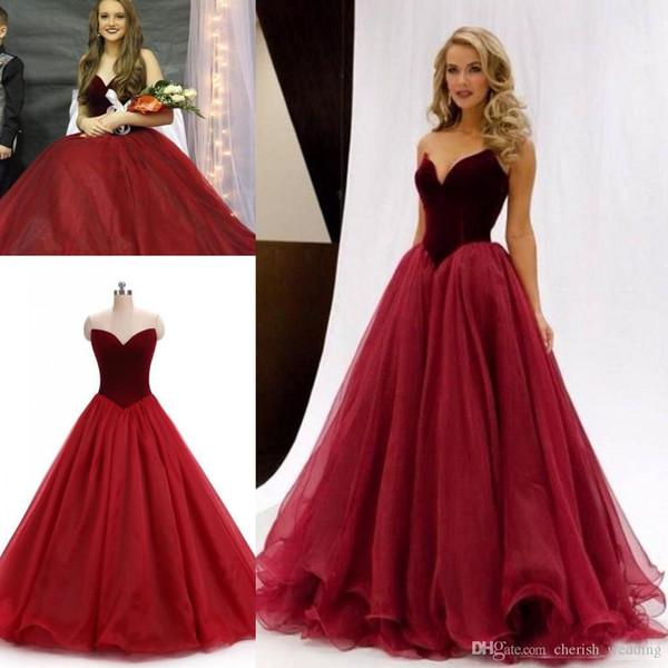 Immagine reale 2017 Borgogna Velluto Prom Dresses Abiti da cerimonia party formale Abiti da spettacolo Ball Gown Sweetheart Abiti lunghi Occasioni economici