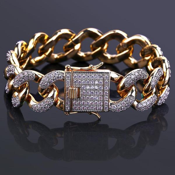 Zircon micro-incrusté en or 18 carats véritable orné de bijoux en diamants dans un bracelet en or 18 mm pour hommes de la chaîne Miami Cuba.