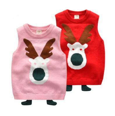 Natal bonito doce camisola bebê colete vermelho rosa roupas infantis crianças menino menina dos desenhos animados colete camisola