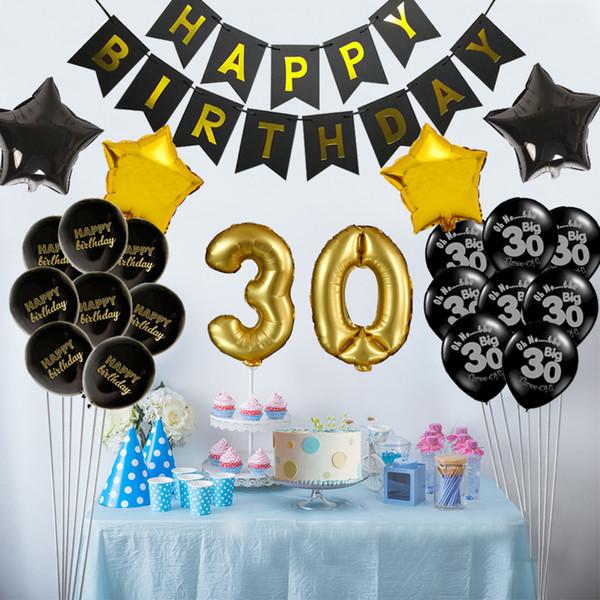 Großhandel 1 Satz 30 40 50 60 Jahre Alt Happy Birthday Banner Anzahl Sterne Ballon Erwachsene Geburtstag Party Geburtstag Dekor Liefert