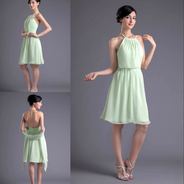 Simple Cheap Sage Short Sexy Bridesmaid Dresses Halter Neck Chiffon Formal Maid of Honor Dresses Wedding Guest Gowns ZPT024