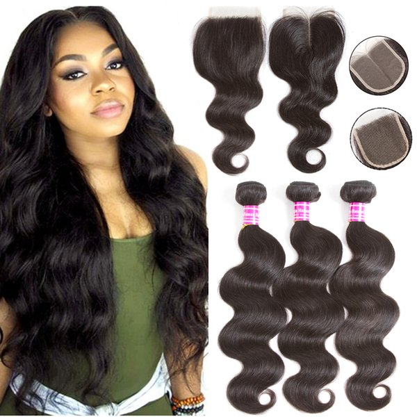 Cheap 10A Brazilian Hair Body Wave 3 Bundles With Closure Virgin Human Hair Weaves With Lace Closure Human Hair Extension Natural Color