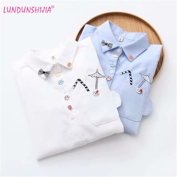 LUNDUNSHIJIA Girl School Long Sleeve Shirt White Blue Tops Ladies Blouses Female Shirt Pocket With Cartoon Umbrella Embroidery