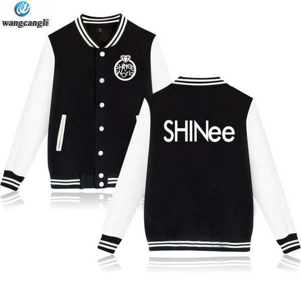 Winter Bomber Jacket Women Korean KPOP SHINEE Pink Uniform Students Baseball Jacket Coat Long Sleeve Fleece Sweatshirt Hoodies