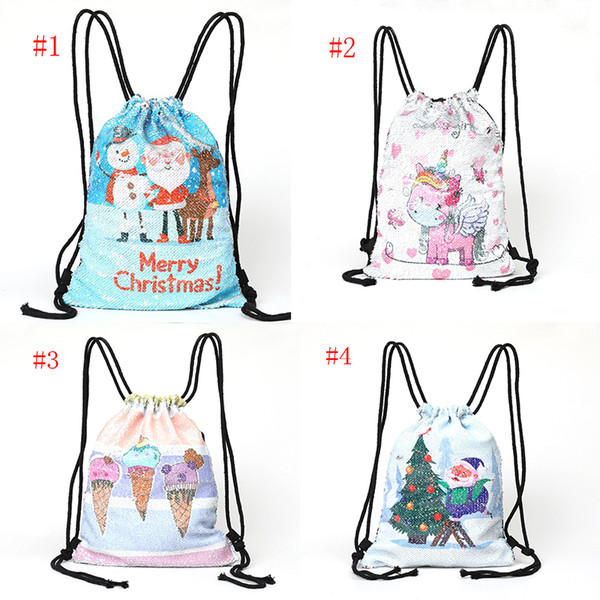 0cdf72fe4c4c 2018 Sequins Christmas Backpack 4 Styles Unicorn Sequin Drawstring Bag  Reversible Outdoor Backpack Sports Shoulder Bag Travel Bag From Topteam,  $9.75 ...