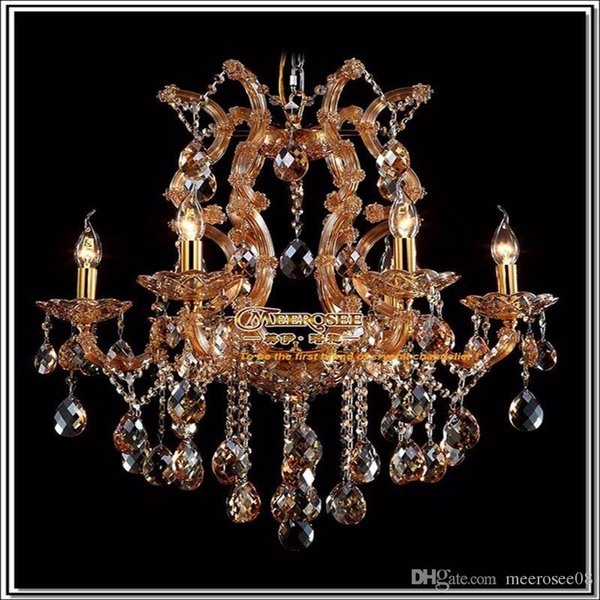 Amber chandelier crystal light with K9 crystal maria theresa style Glass crystal lighting fixture MDS06 L6 fast shipping