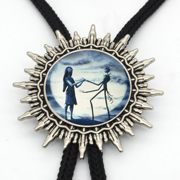 BOLO-007 New Arrival The Nightmare Before Christmas Western Bolo Tie Handmade Glass Dome Jack and Sally Neck Tie Jewelry Slide