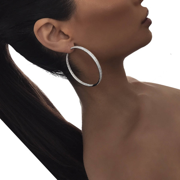 top popular 25mm 50mm big small huggie hoop earring full lab diamond cz paved circle hoops european fashion women gift 2018 bling hoops design 2021
