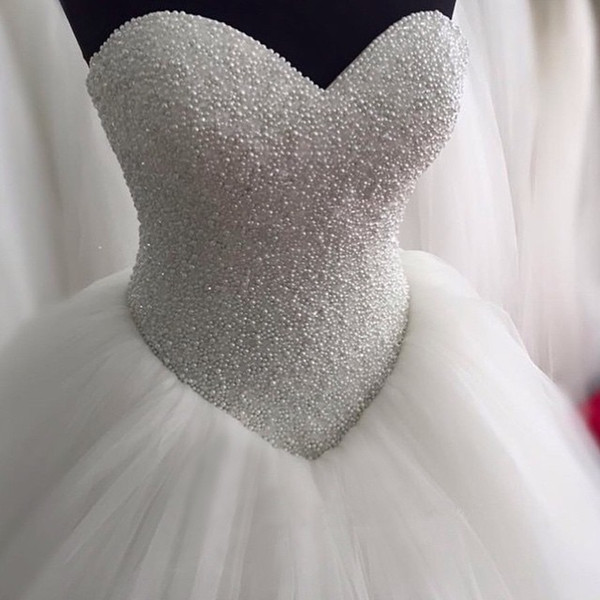 top popular luxurious Crystal Beaded Sweetheart Bodice Corset Ball Gowns Wedding Dress 2016 Bling Bling Style Bridal Gown 2021