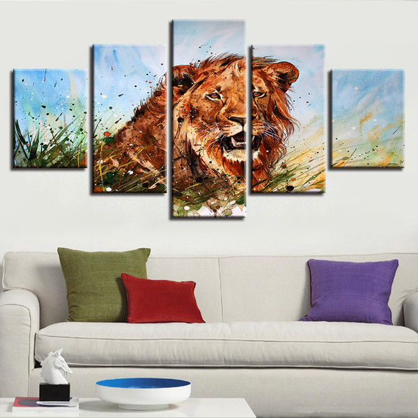 Wall Art Framed Paintings Modular Artworks 5 Pieces Abstract Colorful Animal Lion Posters Printed Canvas Pictures Decor Bedroom
