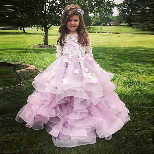 2018 Princess Tiered Skirts Ruffles Flower Girl Dresses Vintage Long Sleeves Appliques Long Formal Kids Party Gowns Pageant Dress
