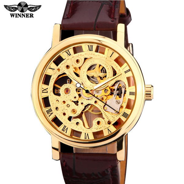 2019 winner brand silver gold tone Skeleton Hand wind Mechanical Mens men watch brown black artificial leather band thin case