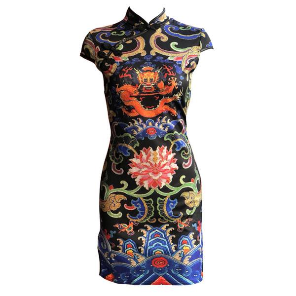 2018 New fashion women's retro nation ethnic style dragon totem print pattern short sleeve sexy bodycon tunic vent jag cheongsam dress