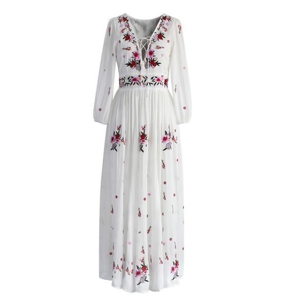 vendita all'ingrosso bianco abito lungo boho cotone 2018 Vintage ricamo floreale nappa Casual maxi abiti hippie donne vestono abbigliamento di marca