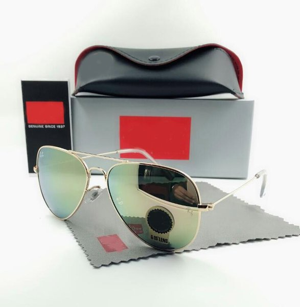 High Quality Men Women Designer Pilot Sunglasses Sun Glasses Gold Flash Pink Mirror Glass Lenses 58mm 62mm UV400 Protection Brown Boxes Case