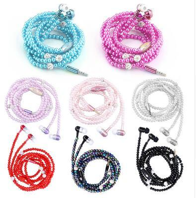 Universal Luxury Pearl Necklace Earphones Rhinestone Jewelry In Ear Headphone With Microphone Earbuds headset For Iphone HuaWei