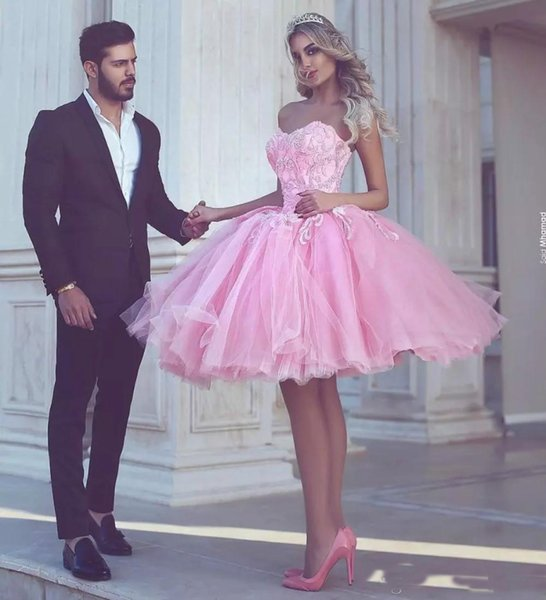 2018 Dubai Pink Lovely Beads Prom Dress Knee Length Sweetheart Short Party Dress Tulle Cheap Homecoming Gowns Sweety