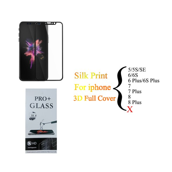 For Iphone X 8 7 6S Plus SE Tempered Glass 3D Full Cover Screen Protector Silk Print 9H Hard Edge Protective Film