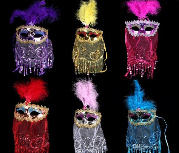 Beautiful mysterious veil Sequins Masquerade Christmas party mask color plastic face sand villi mask performance props