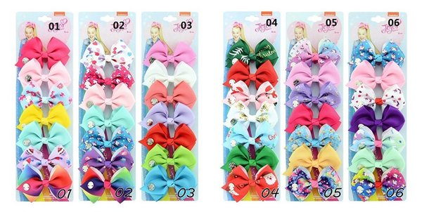 1Set 7PCS 3.5 Inch Rainbow Christmas Unicorn Jojo Hair Bows With Clips Ribbon Solid Hair Clip Kids Hairpins Barrettes Beautiful HuiLin C181