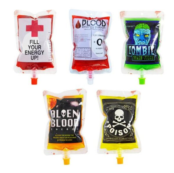 200pcs 250ml Transparent Clear Medical PVC Material Reusable Blood Energy Drink Bag Halloween Vampire Pouch Props