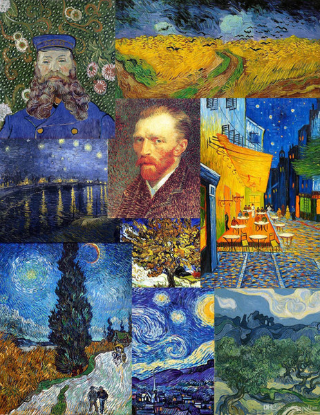 Free Shipping Vincent Van Gogh Oil Painting High Quality Art Posters Print Wallpaper Photo paper 16 24 36 47 inches