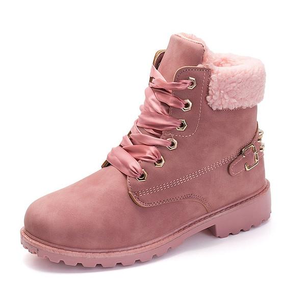 Acheter New Pink Femmes Bottes À Lacets Solide Casual Bottines Martin Toe Toe Femmes Chaussures Hiver Bottes De Neige Chaud Style Britannique De