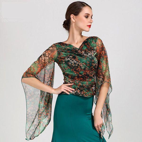 Moda de manga larga con cuello en V gasa Ropa de baile latino superior para las mujeres / bailarina, Tango de baile trajes de rendimiento lleva GB027
