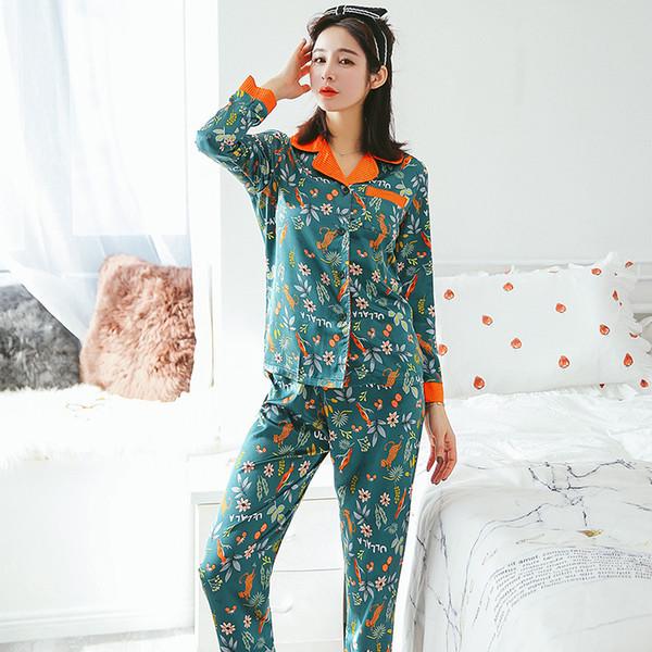 New Arrival Silk Women Sexy Pajama Set Long SleeveTop + Pant 2 Pcs Set  Female Pijama cd2b138d9