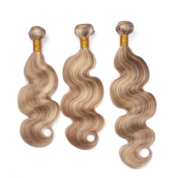 8A Honey Blonde Peruvian Human Hair Body Wave Piano Color #27/613 3 Bundles Lot Virgin Human Hair Weaves No Tangle No Shedding