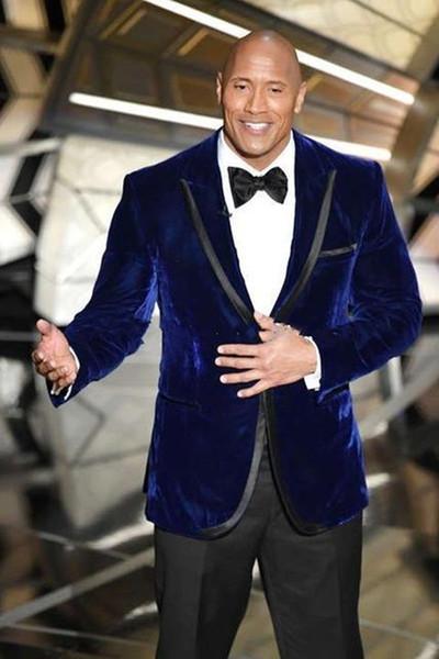 Latest Design One Button Blue Velvet Wedding Groom Tuxedos Peak Lapel Groomsmen Mens Dinner Blazer Suits (Jacket+Pants+Tie) 641