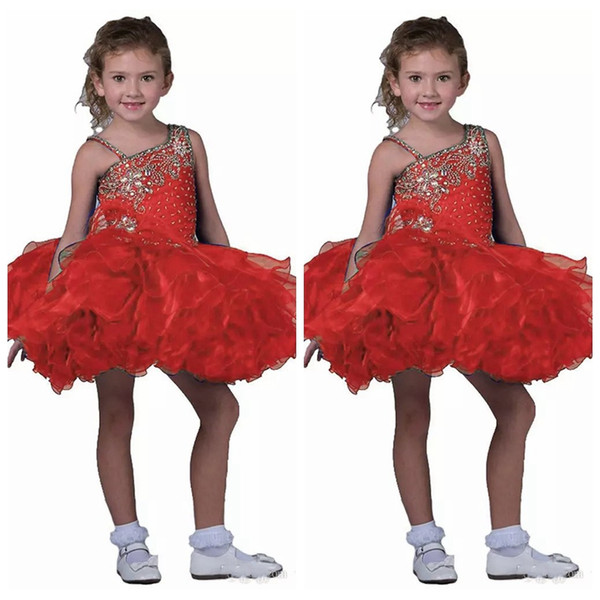 2019 Spaghetti Kids Short Skirts Toddler Mini Girl's Pageant Dress Girls Straps Pageant Cupcake Dresses Kids Formal Occasion Cute Tutu