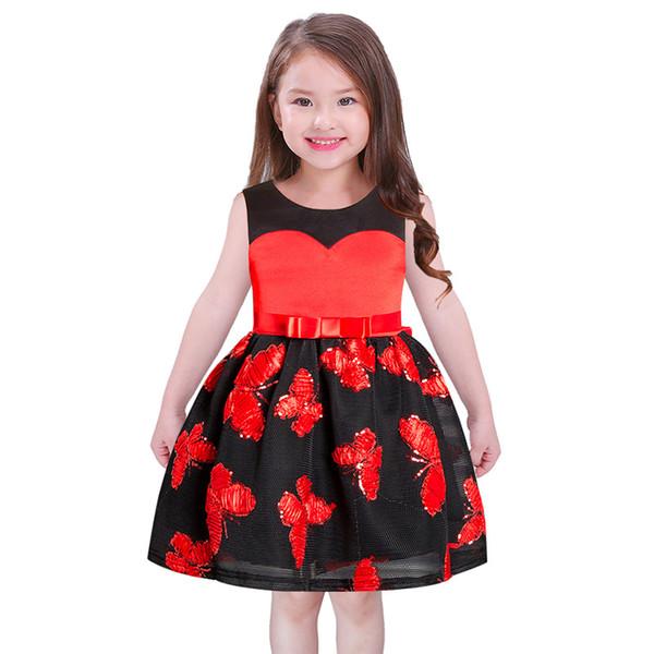2018 Children Sleeveless Dresses Wedding Party Ball Gown Dress 2018 ...