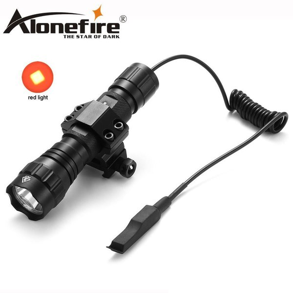 AloneFire 501Bs Tactics flashlight CREE XML Red Light Color LED Tactical Hunting Flashlight Torch With Switch Tactics Mount Camping