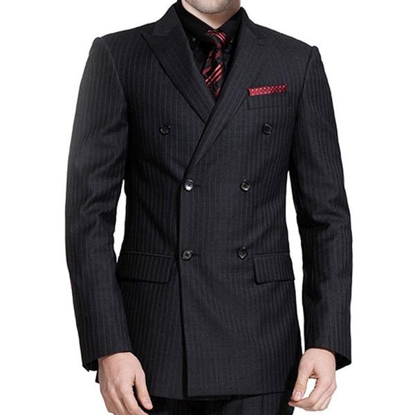 Black Plaid Wedding Groomsmen Tuxedos Groom Wear 3 Piece Jacket Pants Vest Double Breasted Business Party Men Suits